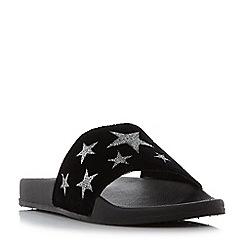 Head Over Heels by Dune - Black 'Linders' star pool sliders