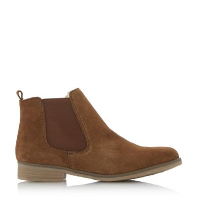 Dune - Tan 'Prompts' faux fur lined chelsea boots