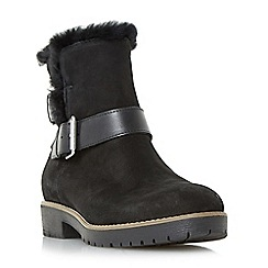 Dune - Black 'Persia' buckle strap faux fur trim ankle boots