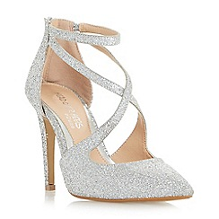 Head Over Heels by Dune - Silver 'Cassy' cross strap point toe court shoes