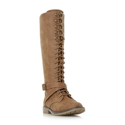 Head Over Heels by Dune - Tan 'Tibbie' lace up knee high boots
