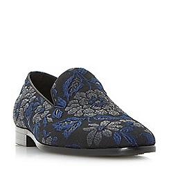Dune - Navy 'Pizazz' brocade slipper cut loafers