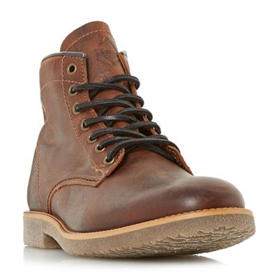 Dune - Brown 'Corporal' crepe sole lace up worker boots