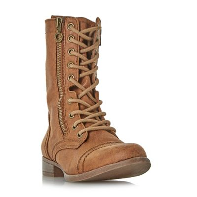 Head Over Heels by Dune - Tan 'Rachey' lace up calf boots