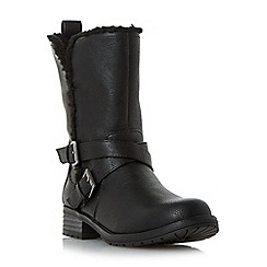 Head Over Heels by Dune - Black 'Reecey' buckle strap biker calf boots