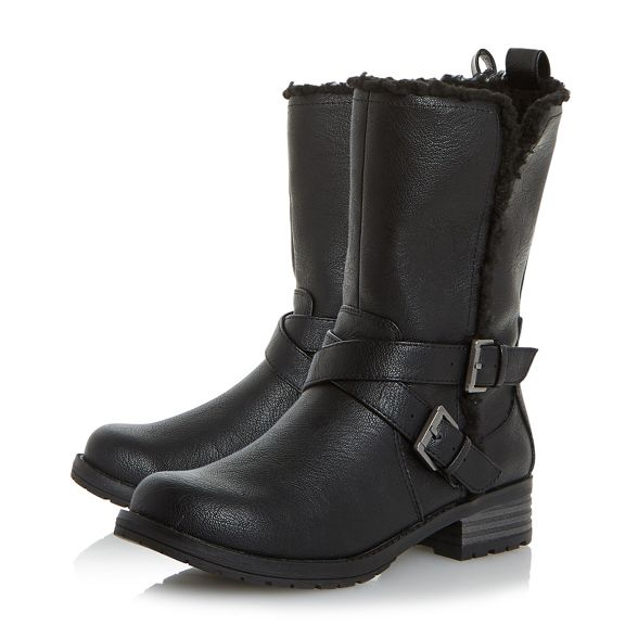 'Reecey' boots Dune biker Black by Head calf Over strap Heels buckle q6vwUXcFgW