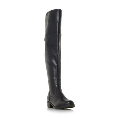 Head Over Heels by Dune - Black 'Tullulah' buckle strap over the knee boots
