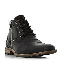 Dune - Black 'Captains' double toe cap detail leather boots