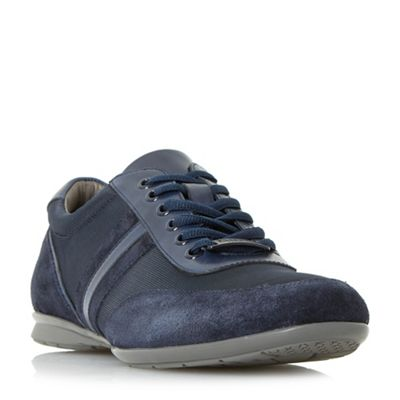 Dune - Navy 'Tate' mixed material trainers