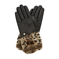 Dune - Black 'Idele' leather glove with faux fur cuff
