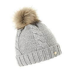 Dune - Grey 'Felice' cable knit pom pom beanie hat