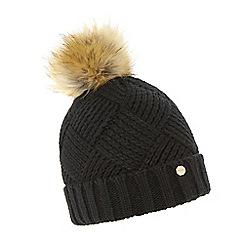 Dune - Black 'Freyya' pom pom trim knitted hat