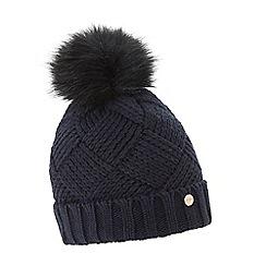 Dune - Navy 'Freyya' pom pom trim knitted hat