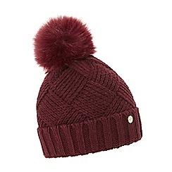 Dune - Dark red 'Freyya' pom pom trim knitted hat