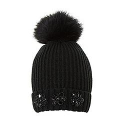 Dune - Black 'Fantasia' embellished knitted hat