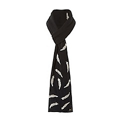 Dune - Black 'Lindsey' feather print scarf