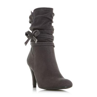Head Over Heels By Dune   Grey 'rayna' Side Bow Detail Calf Boots by Head Over Heels By Dune