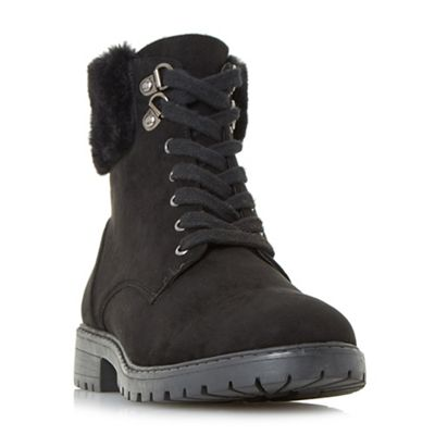 Head Over Heels by Dune - Black 'Piyah' lace up faux fur trim ankle boots