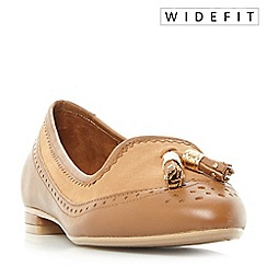 Dune - Tan 'W gambel' wide fit double tassel slip on shoes