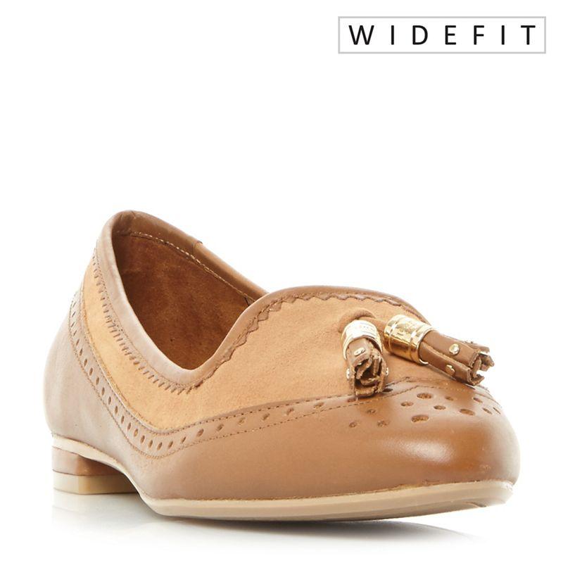 Dune - Tan W Gambel Wide Fit Double Tassel Slip On Shoes