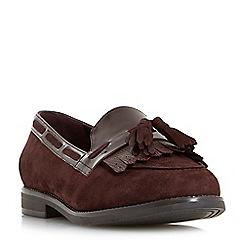 Dune - Maroon 'W goodness -wide fit tassel trim loafers
