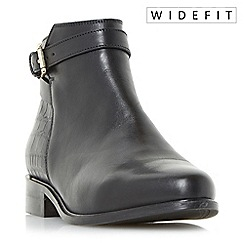 Dune - Black 'W poppy' wide fit buckle detail side zip ankle boots