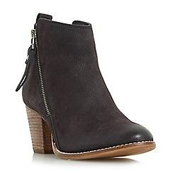 Dune - Black 'Wf pontoon' stacked heel side zip ankle boots