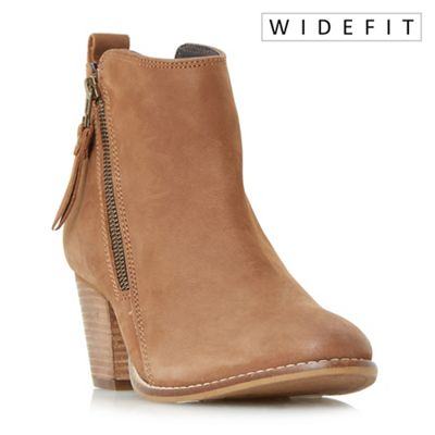 Dune - Tan 'Wf pontoon' stacked heel side zip ankle boots