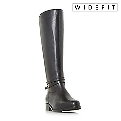 Dune - Black 'W taro' wide fit knee high riding boots
