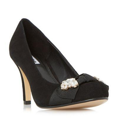 Dune - Black 'Beaches' jewel trim round toe court shoes