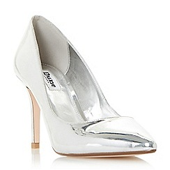 Dune - Silver 'Aurrora' mid heel court shoes