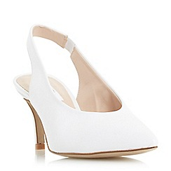 Dune - White 'Cantrel' high throat slingback court shoes