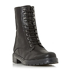 Dune - Black 'Rayko' lace up worker boots