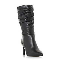 Dune - Black 'Reenie' point toe ruched calf boots