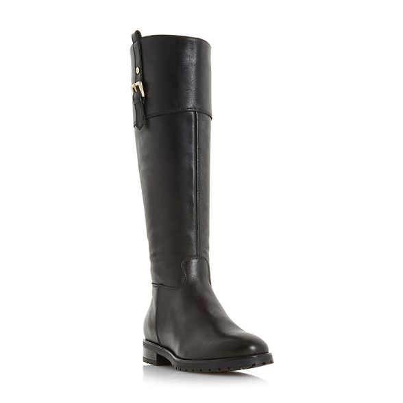 Black leather knee 'vine' Dune high boots 0PfAwgw