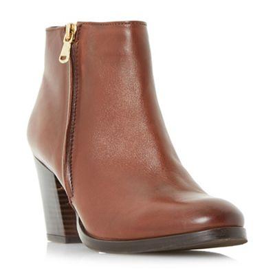 Dune - Tan 'Powars' side zip ankle boots
