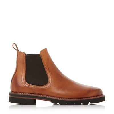 Dune - Tan 'Quart' reptile back panel chelsea ankle boots