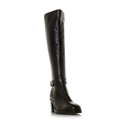 Dune - Black 'Tyrell' buckle strap knee boots