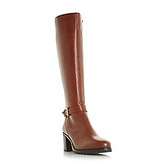 Dune - Tan 'Tyrell' buckle strap knee boots