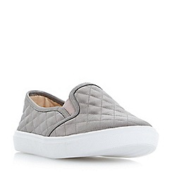 Head Over Heels by Dune - Silver 'Elsaa q' quilted skater slip on trainers