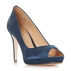 Roland Cartier - Navy 'Deco' peeptoe platform court shoes