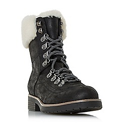 Head Over Heels by Dune - Black 'Rolli' lace up faux fur trim calf boots