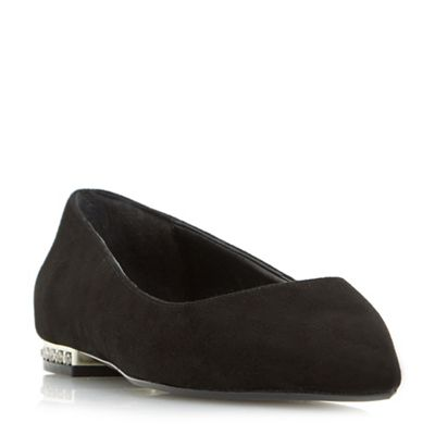 Dune - Black 'Blackheart' point toe jewel heel flat shoes