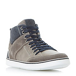 Dune - Grey 'Sven' leather hi-top trainers