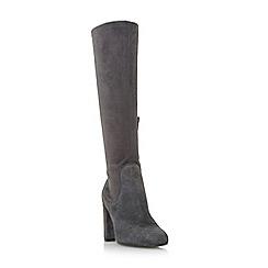 Dune - Grey 'Serein' knee high heeled stretchy boots