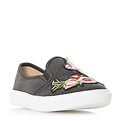 Head Over Heels by Dune - Black 'Edan' jewel and applique detail slip on trainers