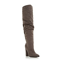 Head Over Heels by Dune - Grey 'Sesily' ruched heeled over the knee boots