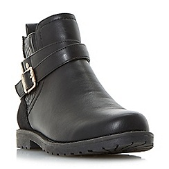Head Over Heels by Dune - Black 'Panache' buckle strap Chelsea boots