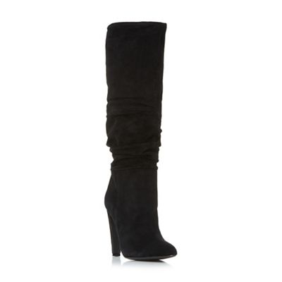 Steve Madden - Black suede 'Carrie' high block heel knee high boots