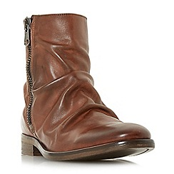 Bertie - Tan 'Coppers' ruched leather zip boots